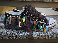 Кеды Exclusive. Прочный обувной текстиль с дорогой фурнитурой. Рант подошвы украшен пайетками. Р-р 36-40.