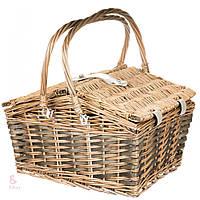 Плетеная корзина для пикника на 4 персоны с термостойкой сумкой