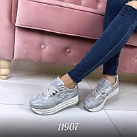 Кроссовки =Flowers=, экокожа+обувной текстиль, подошва 4 см,  р-р 36-40, Три цвета