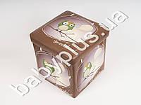 Пуф раскладной Сова, 30*30*30, кожзам, цвет коричневый (Можно хранить игрушки)