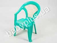 Кресло детское со вставкой №1, цвет бирюзовый