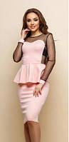 Платье из трикотажа с сеткой в горошек  костр7780, фото 1