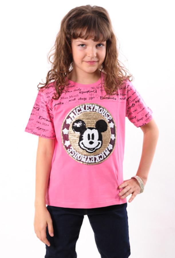 "Футболка  для девочки  розовая с нашивкой ""Микки"" от 6 до 10 лет (116;122;128;134;140)"