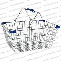 Корзина покупательская, 455х320х200 мм, хромированная, корзина для супермаркета, корзина для покупателя, метал