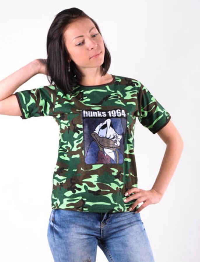 """Женская футболка Камуфляж  """"Дональд 1964"""" большие размеры 40-54"""