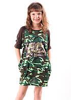 Платье летнее для девочки Камуфляж от 6 до 10 лет(116;122;128;134;140)