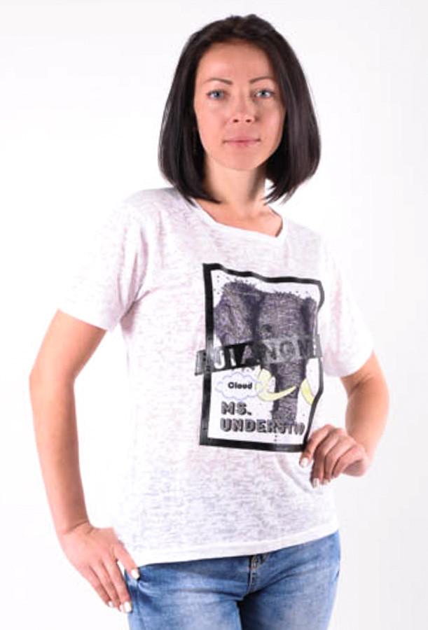 """Женская футболка  белая с нашивкой """"Слон"""" большие размеры 40-50"""