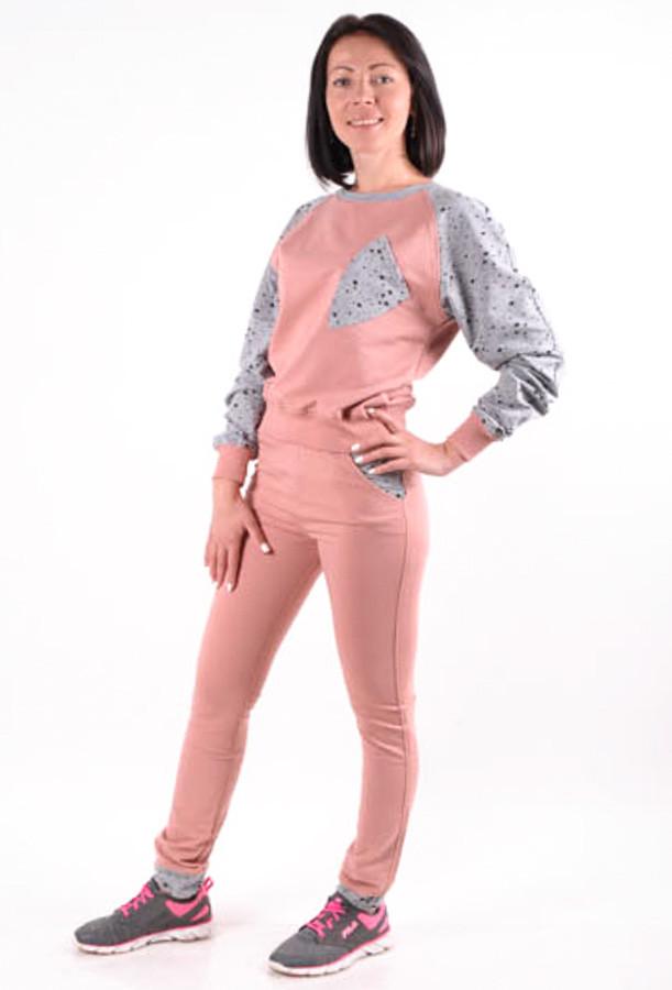 Женский  спортивный костюм розовый(пудра) MilaVa размер 46