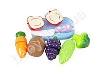 Продукты на липучке, фрукты/овощи, 6шт, досточка, нож, в кульке