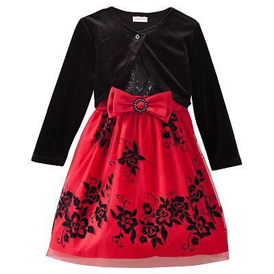 Платье без рукавов с велюровым болеро верх расшит пайетками(Размер 2Т) Youngland(США) с пышными нижними юбками