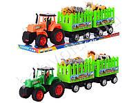 Трактор инер-й, с прицепом, 48см, животные 4шт, 2 цвета, в слюде