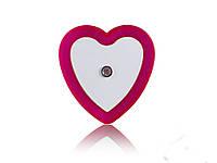 Светодиодный ночник с датчиком света Сердечко  Розовый