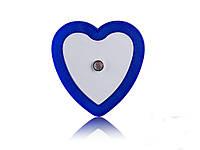 Светодиодный ночник с датчиком света Сердечко  Синий