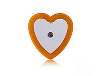 Светодиодный ночник с датчиком света Сердечко  Оранжевый