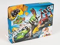 Трек, машинка(металл), динозавр, 6 красок, кисточ, 4 цвета, в кор-ке
