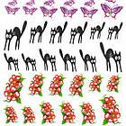 Водные Наклейки для Ногтей Разноцветные, Декор ногтей, Маникюр, Angevi S 027 Лапки, Крокусы, Бабочки, Коты, фото 4