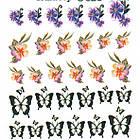 Водні Наклейки для Нігтів Різнокольорові, Декор нігтів, Манікюр, Angevi S 028 Метелики, Квіточки, фото 4