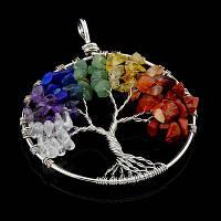 """Подвеска из самоцветов """"Дерево 7 чакр"""""""