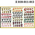Водные Наклейки для Ногтей Разноцветные, Большая Тройная Пластина, Дизайн Ногтей, Angevi S 010-011-012, фото 2