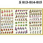 Водные Наклейки для Ногтей Разноцветные, Большая Тройная Пластина, Дизайн Ногтей, Angevi S 013-014-015, фото 2