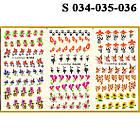 Водные Наклейки для Ногтей Разноцветные, Большая Тройная Пластина, Дизайн Ногтей, Angevi S 034-035-036, фото 2