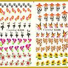 Водные Наклейки для Ногтей Разноцветные, Большая Тройная Пластина, Дизайн Ногтей, Angevi S 034-035-036, фото 5