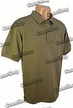 Футболка-поло летняя в оливковом цвете из потоотводящей ткани CoolPass, фото 2