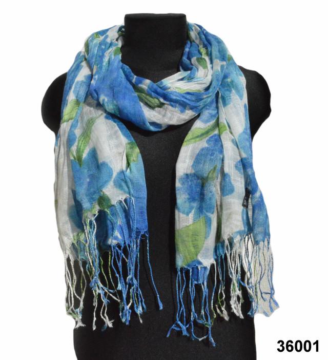 Женский голубой шарф из льна фото 1