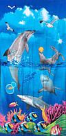 Пляжное полотенце Дельфины и акулы