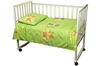 Постельный комплект в детскую кроватку Немовля (пододеяльник, наволочка, простынь) салатовый ТМ Руно 932.116