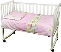 Постельный комплект в детскую кроватку Немовля (пододеяльник, наволочка, простынь) розовый ТМ Руно 932.116