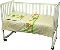 Постельный комплект в детскую кроватку Немовля (пододеяльник, наволочка, простынь) бежевый ТМ Руно 932.02, фото 1