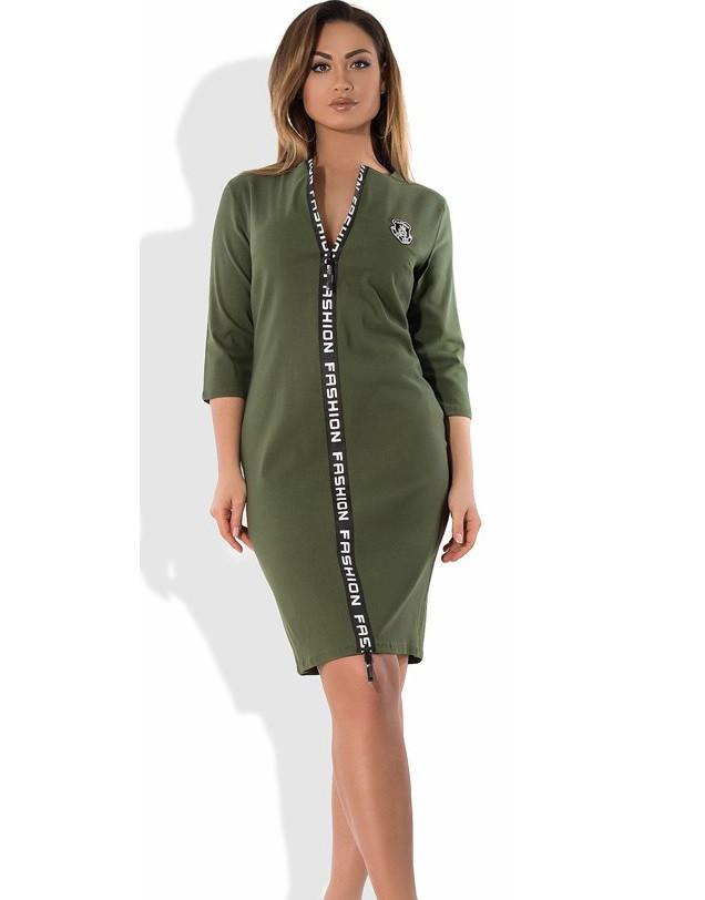 Стильное женское платье на молнии цвета хаки размеры от XL ПБ-422