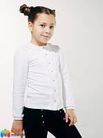 Блуза школьная с вязаным воротником Смил 114603, цвет белый