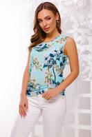 Блуза-безрукавка №1613 р. 42-50 мятные цветы