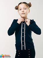 Блуза школьная с вязаным воротником Смил 114603, цвет темно-синий