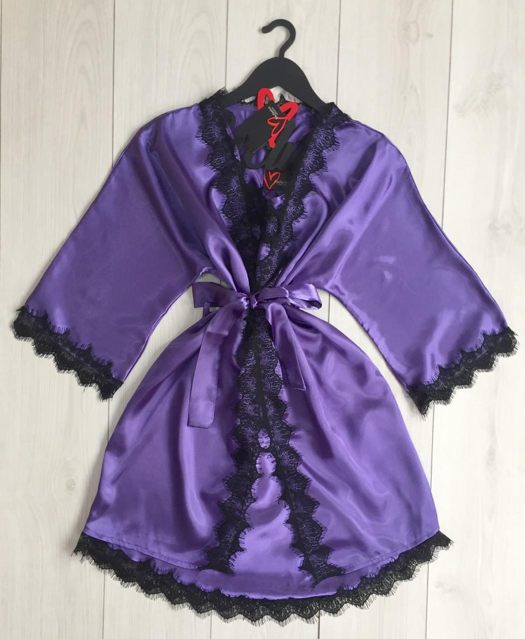 Атласный комплект халат и пеньюар женский