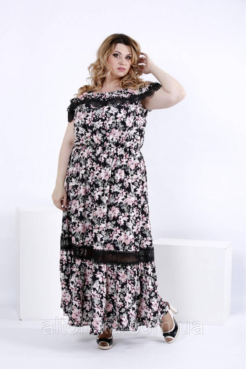 Легкое платье в пол с цветами ДРУГОЙ ПРИНТ !!! | 0858-2