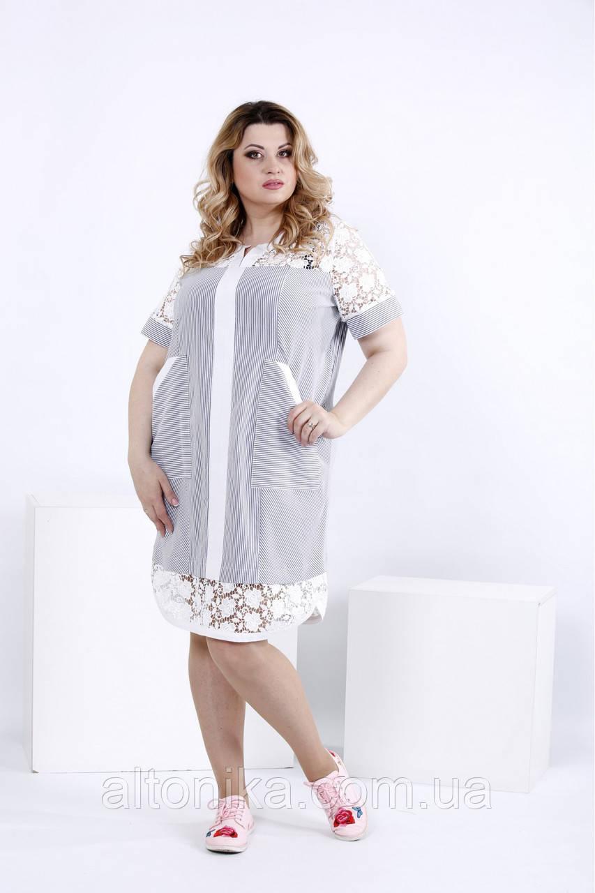 Женское воздушное платье-рубашка с карманами / 42-74