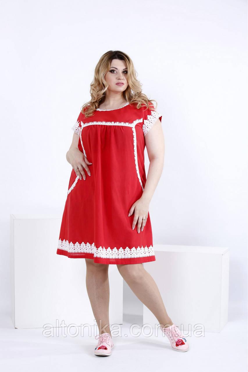 Женское свободное льняное платье / 42-74
