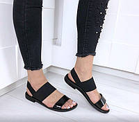 Босоножки сандали Martha женские черные на сплошной подошве с резинками