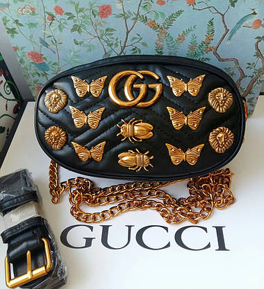 Сумочка-бананка  Gucci Marmont черная, эко-кожа, фото 2