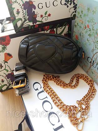 Сумочка-бананка  Gucci Marmont черная, эко-кожа, фото 3
