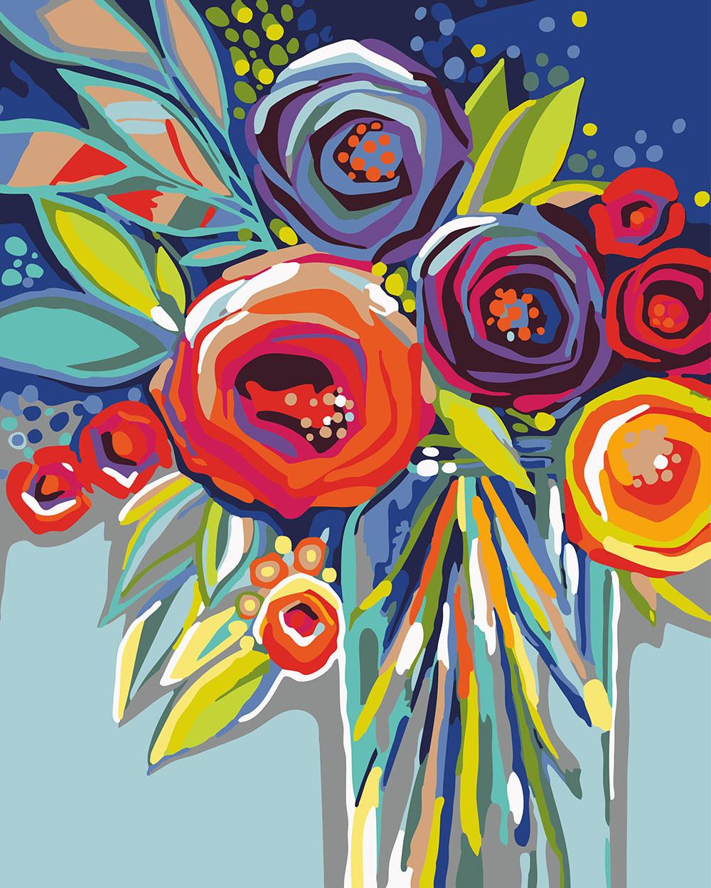 раскраска для взрослых абстракция розы Bk Gx23518 40 х 50 см без коробки продажа цена в сумах картины по номерам от интернет магазин Art