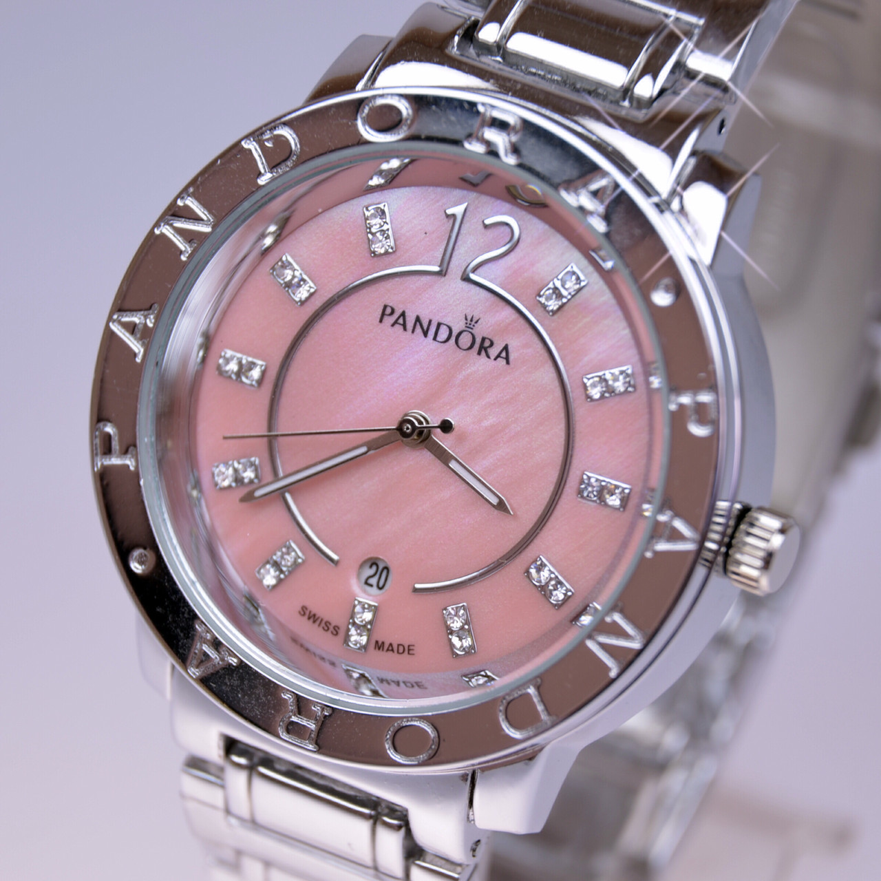 3935f0a47c5a Женские наручные часы PANDORA (Пандора) С10 Silver перламутр Pink -  интернет- магазин