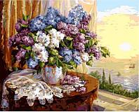 Рисование по номерам (цветной холст) DIY Babylon Premium Сирень на окне (NB331) 40 х 50 см