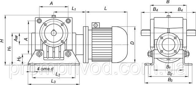 Схема мотор-редукторов типа МЧ-40, МЧ-63, МЧ-80