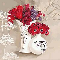 Раскраска по номерам без коробки Идейка Цветочное дыхание (KHO2930) 40 х 40 см, фото 1
