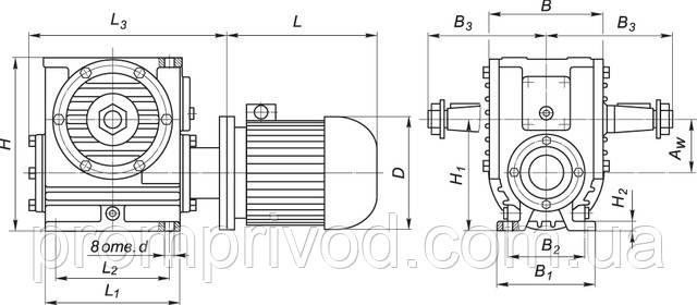 Схема мотор-редукторов типа МЧ-100, МЧ-125, МЧ-160