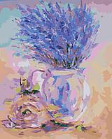 Раскраска по номерам без коробки Идейка Нежная лаванда (KHO2044) 40 х 50 см, фото 1